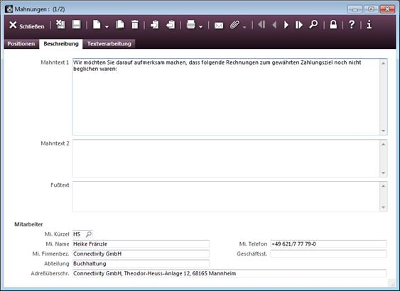 Eingabemaske Register Beschreibung Conaktiv Handbuch